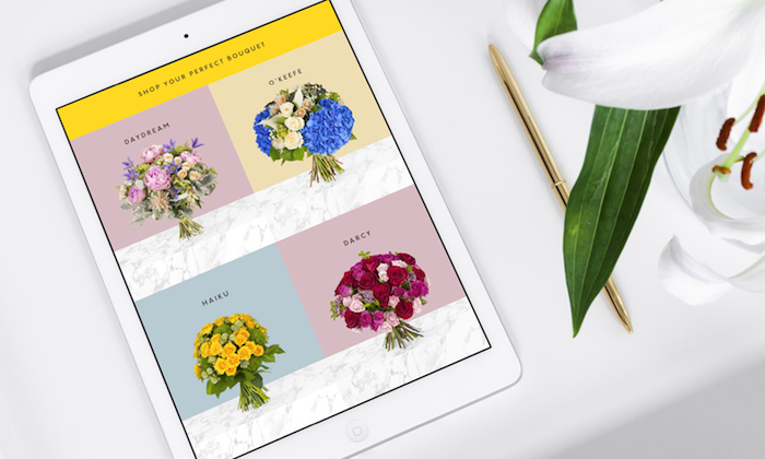 an ipad showing flower options