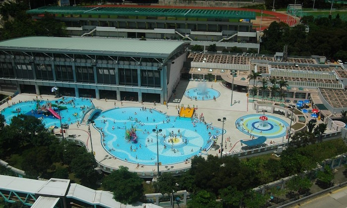 arial view of a public swimming pool in hong kong
