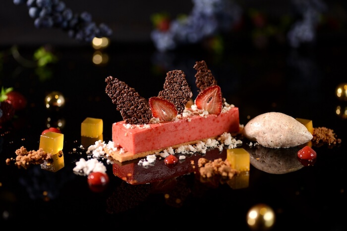 8_Land of Sweets - Fresh raspberry mousse, chocolate tuile, strawberry chips, cinnamon crumble, cinnamon ice cream, peanut butter dust, apricot jelly