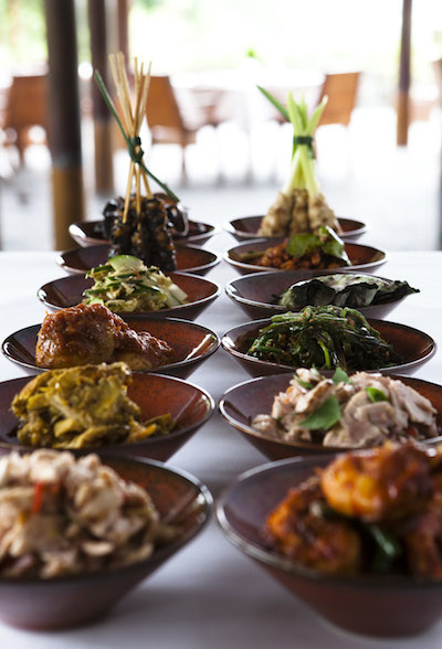 a selection of dishes at the aliila ubud resort
