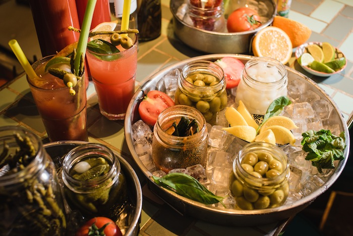 build-your-own bloody mary station at mrs pound