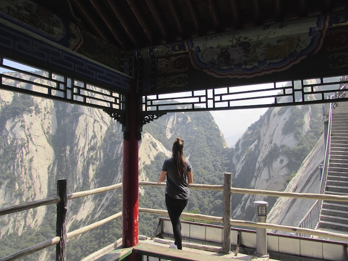 the top of Huashan Mountain Xian China