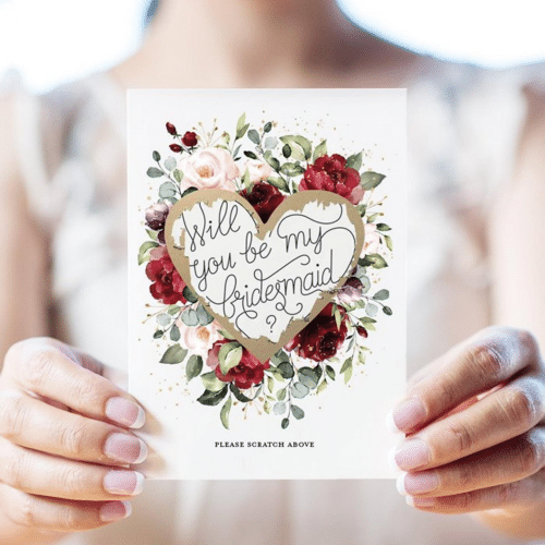 Bridesmaid Proposals: Bridal party floral scratch-off cards